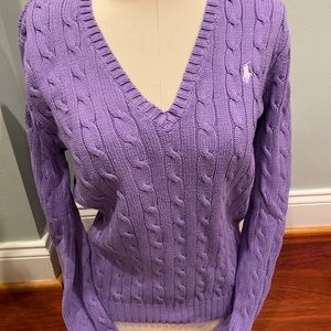 Ralph Lauren Lavender V-Neck Cable Sweater